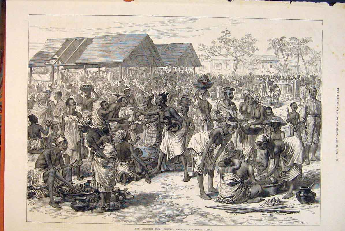Print Ashantee War Market Cape Coast Castle Sketch 1874 77Maa0 Old Original