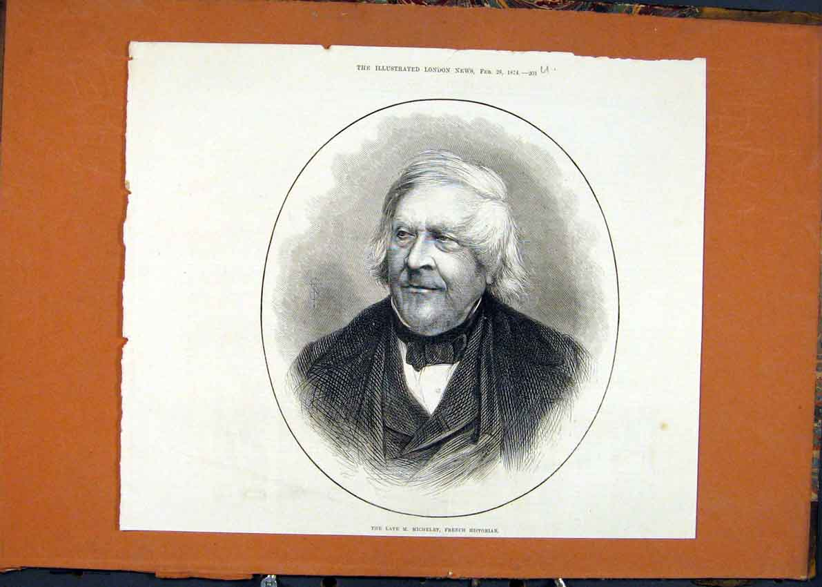 Print Portrait Michelet French Historian 1874 01Umaa0 Old Original