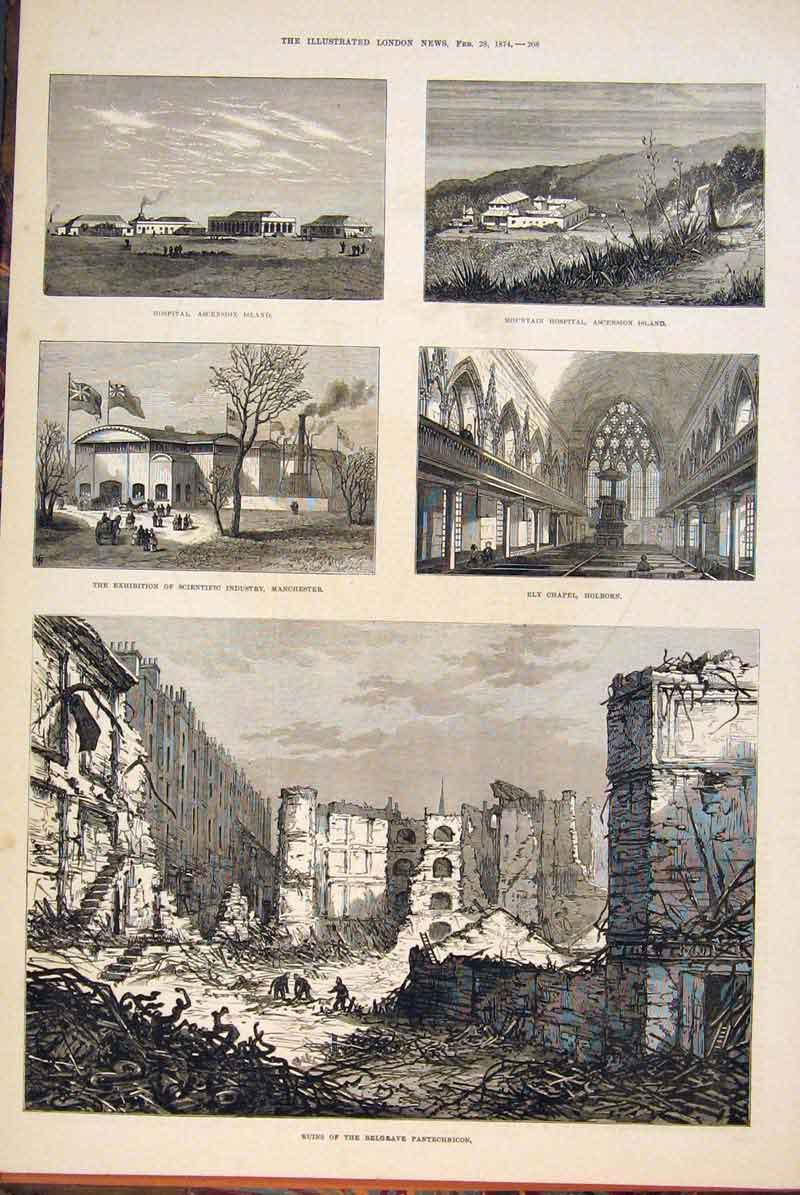 Print Belgrave Pantechnicon Ruins Holborn Manchester Hospital 08Maa0 Old Original