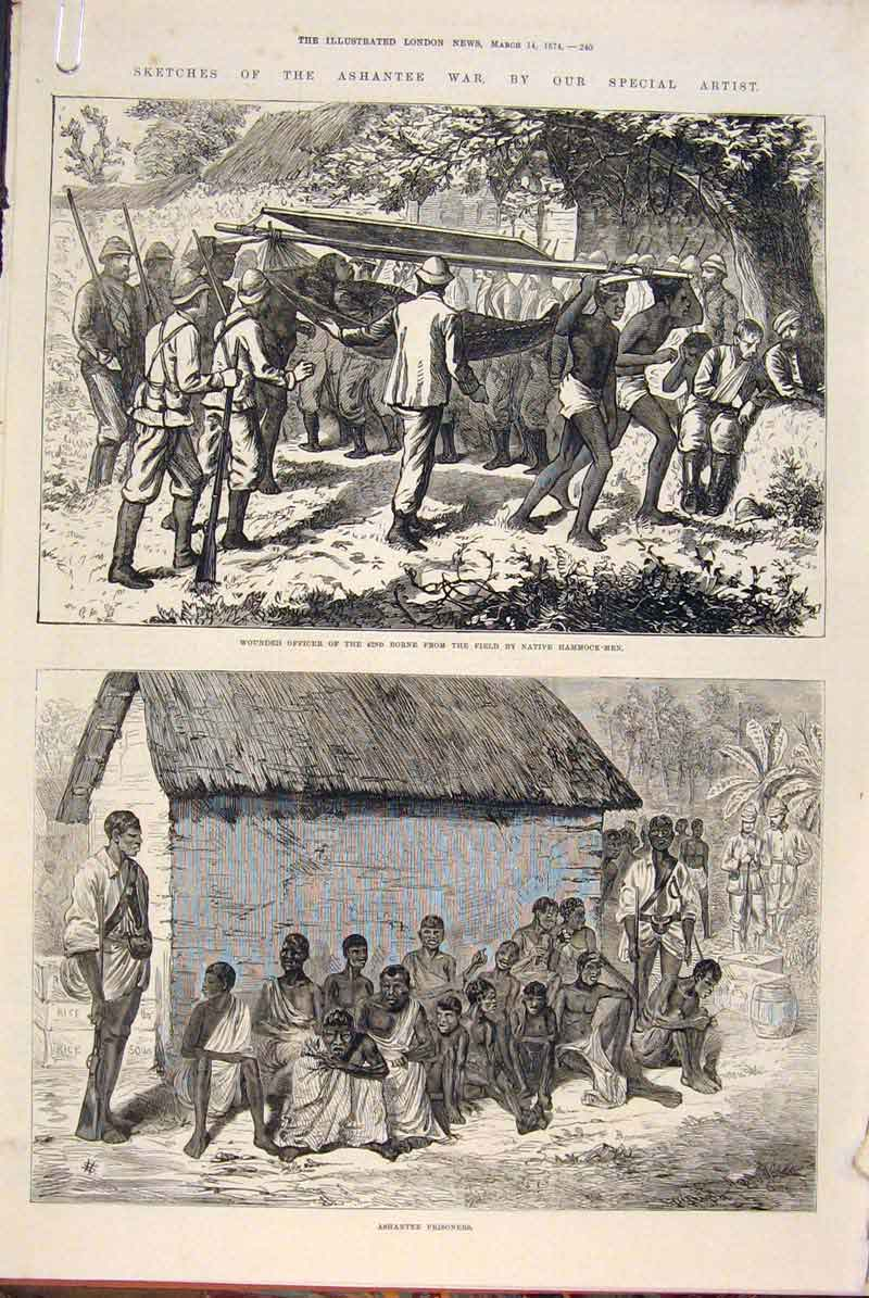 Print Sketches Ashantee War Gifford Soldiers Prisoners 1874 40Amaa0 Old Original