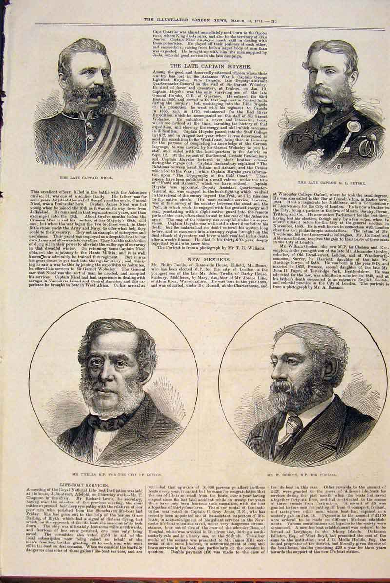 Print Portrait Captain Nicol Huyshe Twells Gordon Mp 1874 49Maa0 Old Original