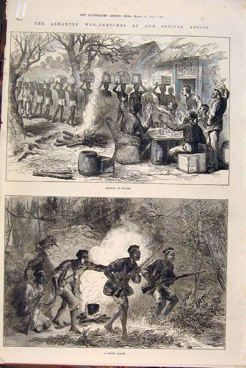 Print Ashantee War Sketches Regiment Troops Camp 1874 64Amaa0 Old Original