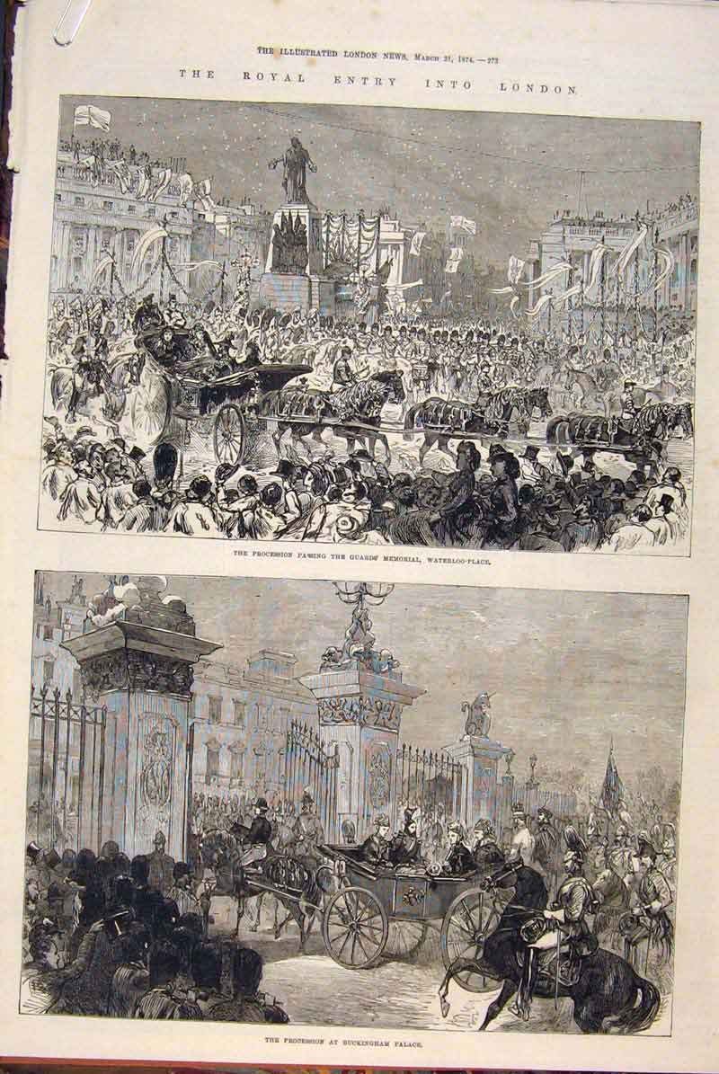 Print Royal Procession London Buckingham Palace Oxford 1874 73Amaa0 Old Original