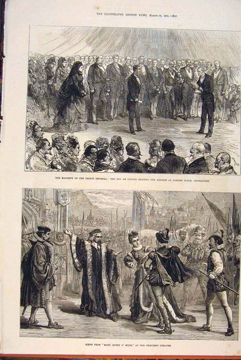 Print Chiselhurst Camden Prince Imperial Scene Theatre 1874 97Maa0 Old Original