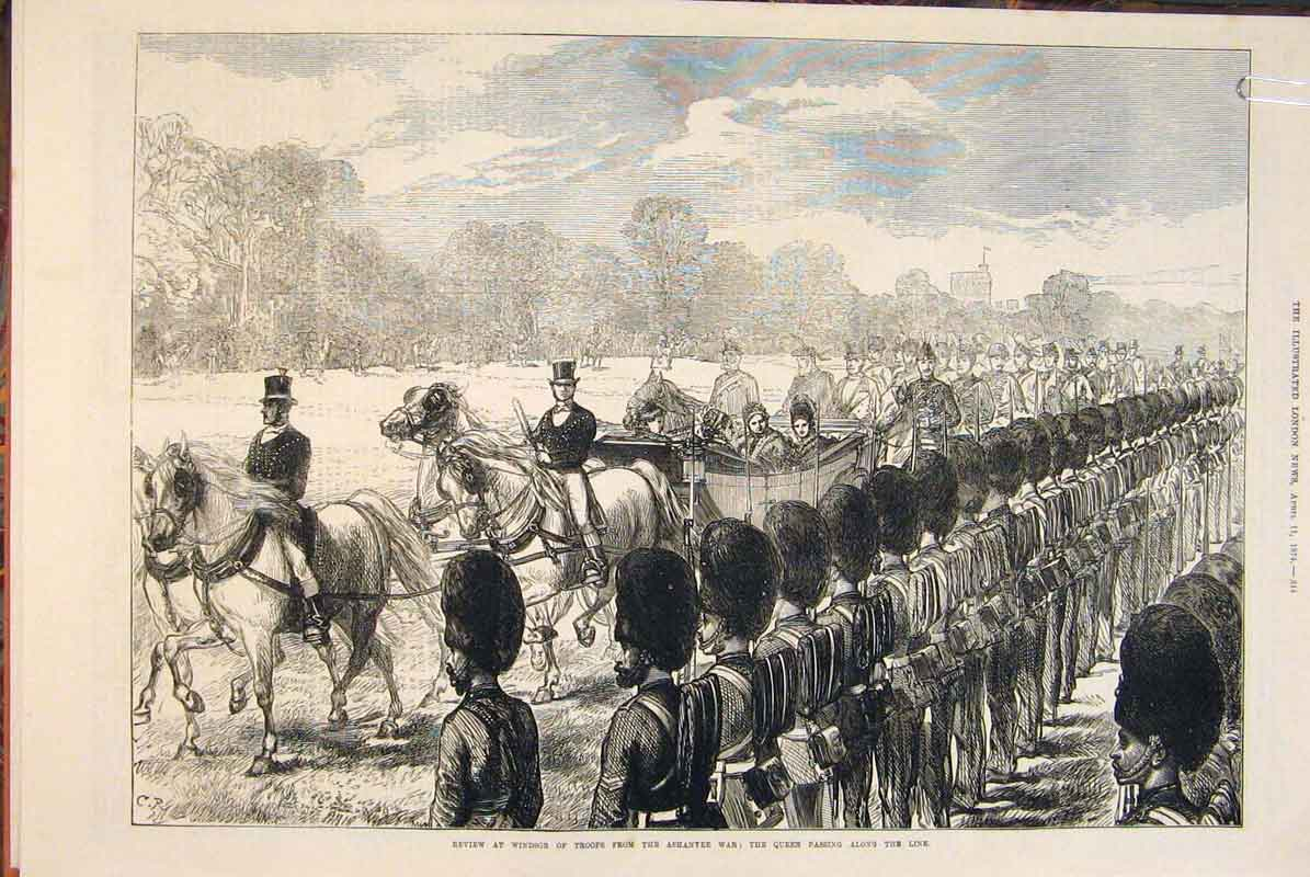 Print Review Windsor Troops Ashantee War Naval Brigade 1874 44Amaa0 Old Original