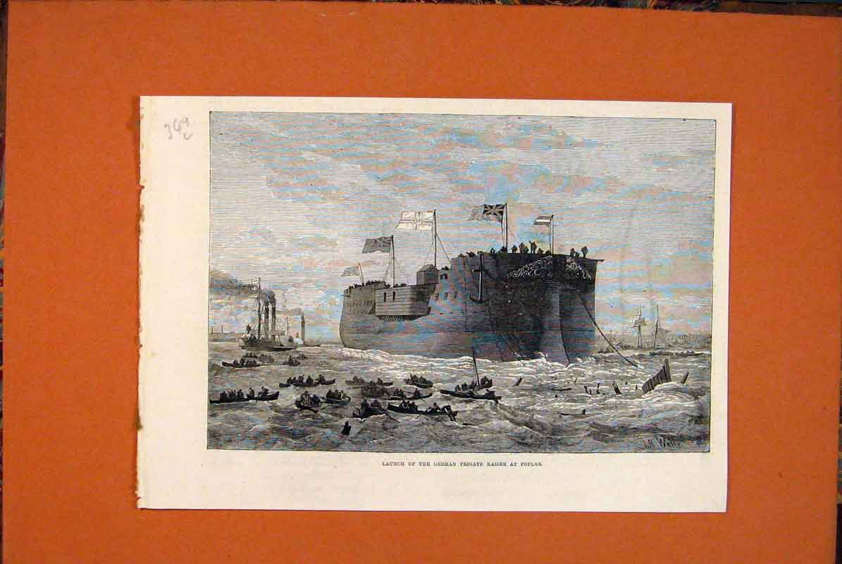 Print German Frigate Kaiser Poplar Ship Sea 1874 49Lmaa0 Old Original
