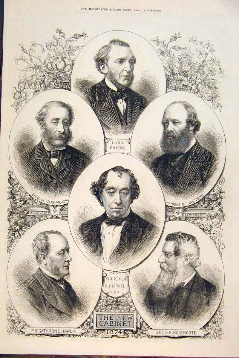 Print Portrait Group Cabinet Disraeli Parliament 1874 64Amaa0 Old Original