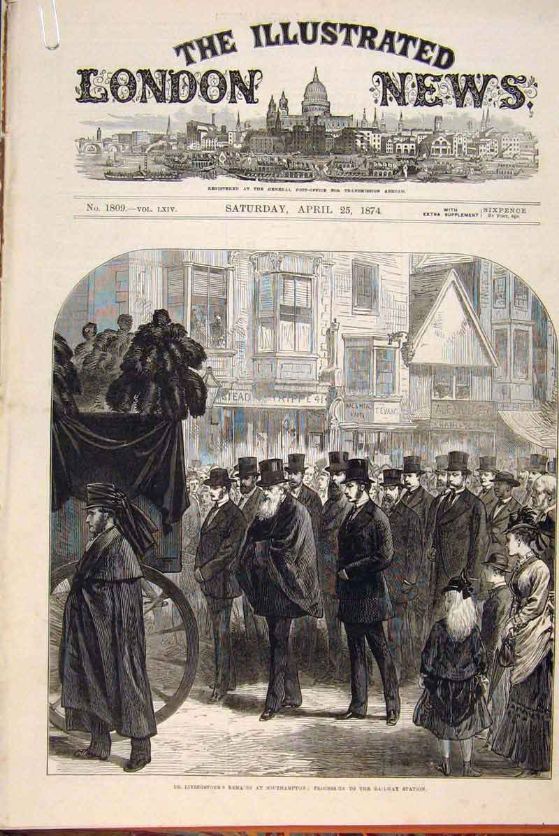 Print Livingstone Procession Funeral Westminster Abbey 1874 01Amaa0 Old Original