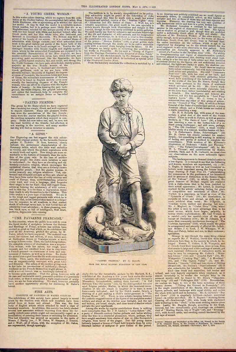 Print Halse Parted Friends Statue Dog Death 1874 28Maa0 Old Original