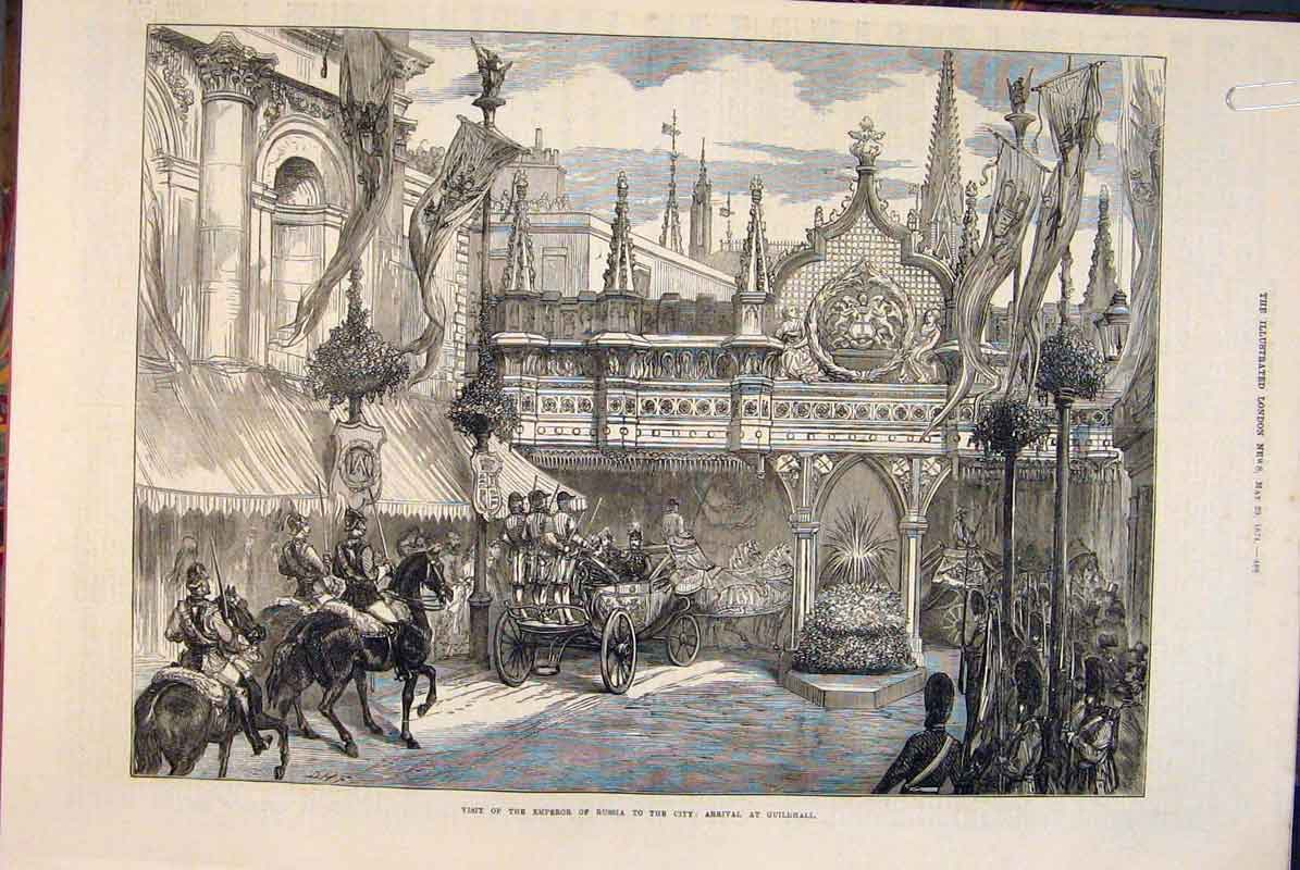 Print Emperor Russia London Guildhall 1874 88Amaa0 Old Original