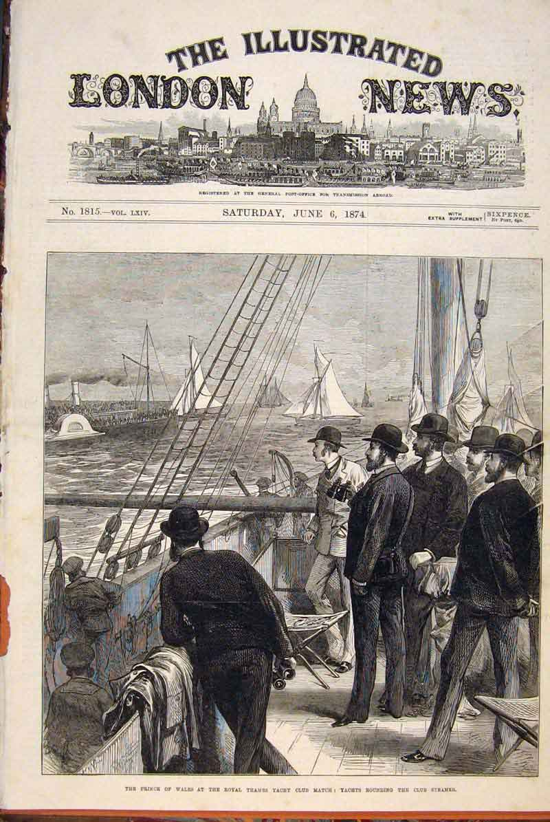 Print Prince Wales Royal Thames Yacht Club Steamer 1874 26Maa0 Old Original