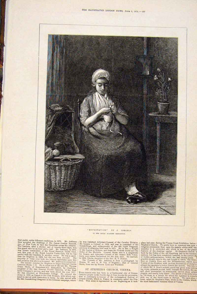 Print Expectation Isreals Pregnant Lady Portrait 1874 37Maa0 Old Original