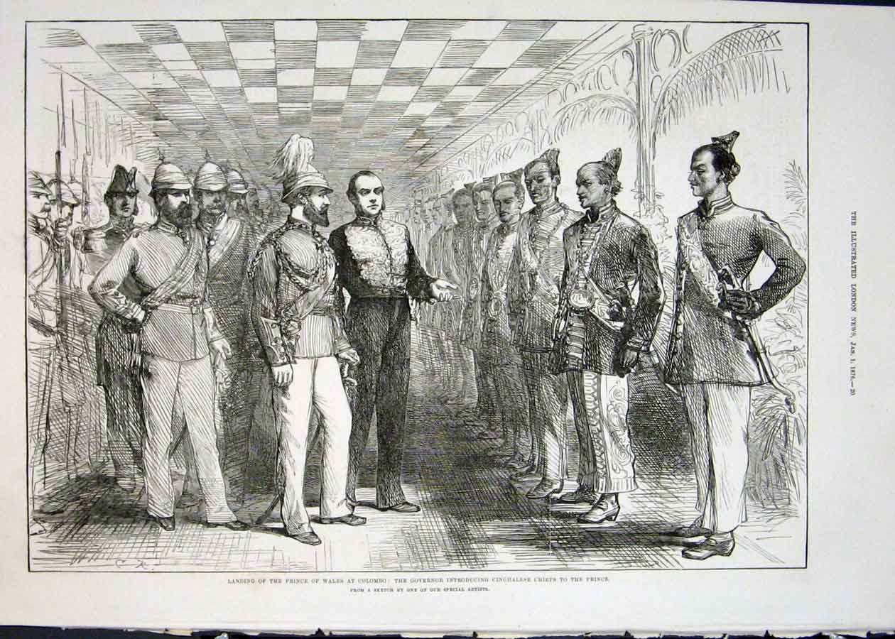 Print Prince Wales Colombo Cinghalese Chiefs India 1876 20Maa0 Old Original