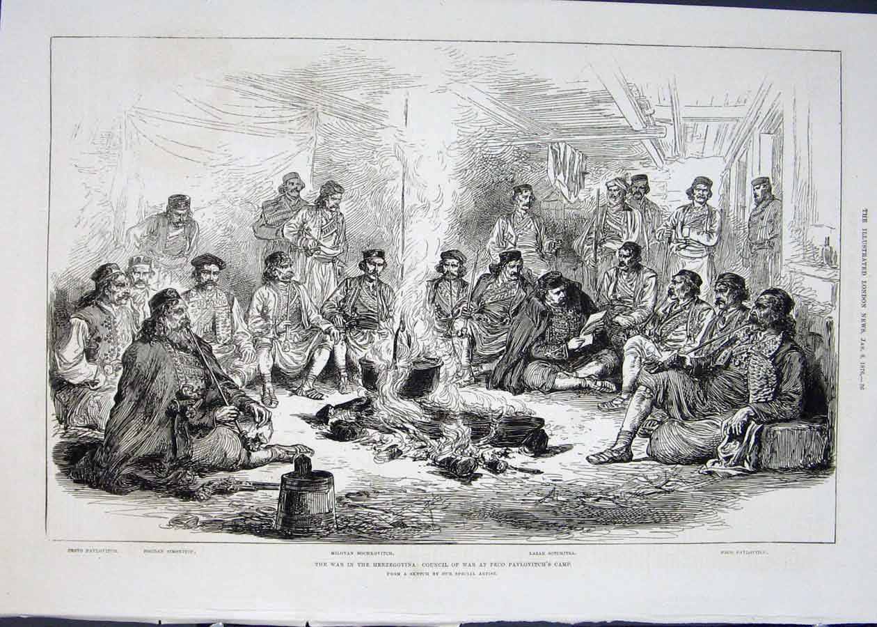 Print Council War Herzegovina Pavlovitch Camp 1876 36Maa0 Old Original
