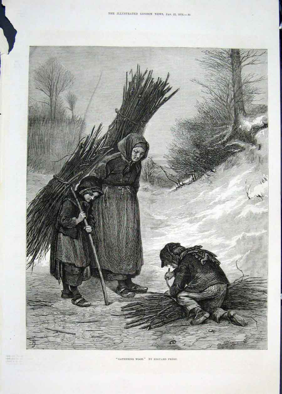 Print Gathering Wood Edouard Frere Fine Art 1876 Child 81Maa0 Old Original
