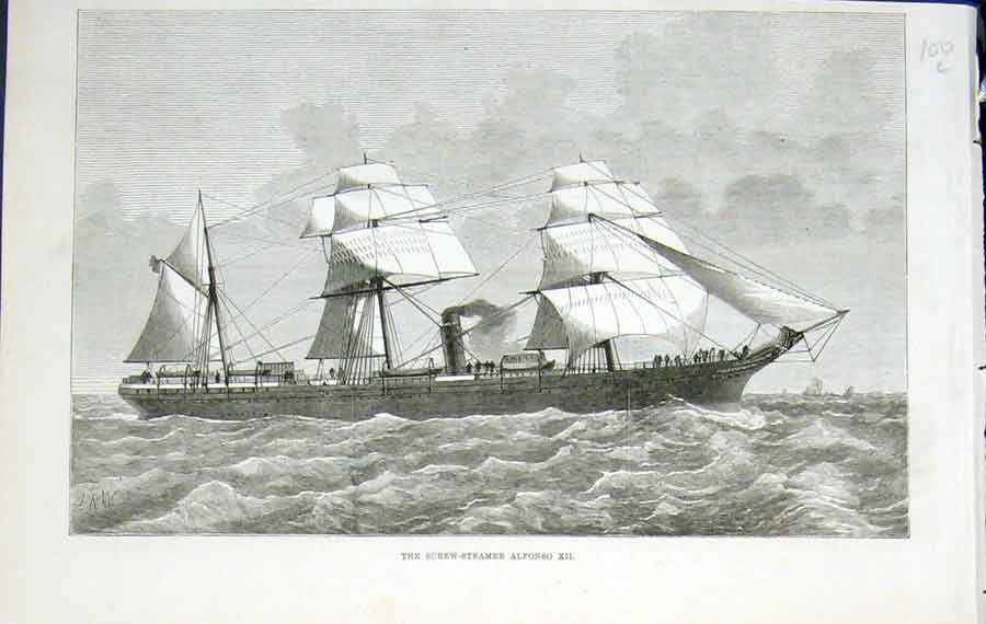 Print Screw Steamer Alphonso Xii Ship Sea 1876 00Lmaa0 Old Original