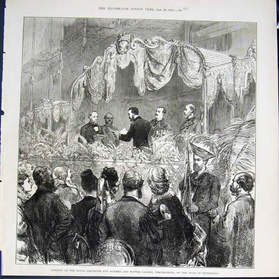 Print Aquarium Garden Westminster Duke Edinburgh London 1876 01Umaa0 Old Original