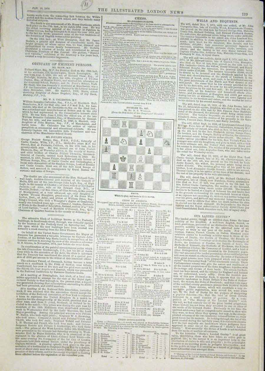 Print Chess Problems And Solutions 1876 19Maa0 Old Original