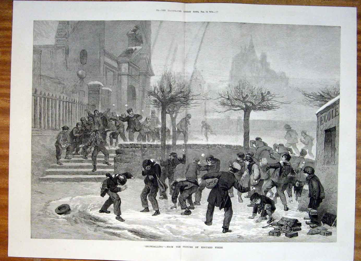 Print Snowballing Snow Ball Edouard Frere Boys Fine Art 1876 75Tmaa0 Old Original