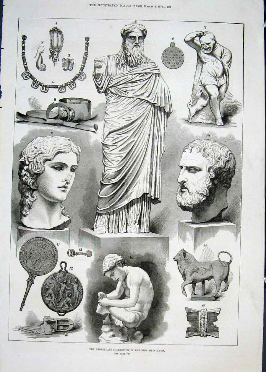 Print Castellani British Museum London Statue 1876 29Maa0 Old Original