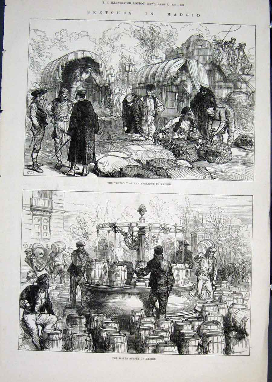 Print Sketches Madrid Spain Octroi Water Supply 1876 33Maa0 Old Original