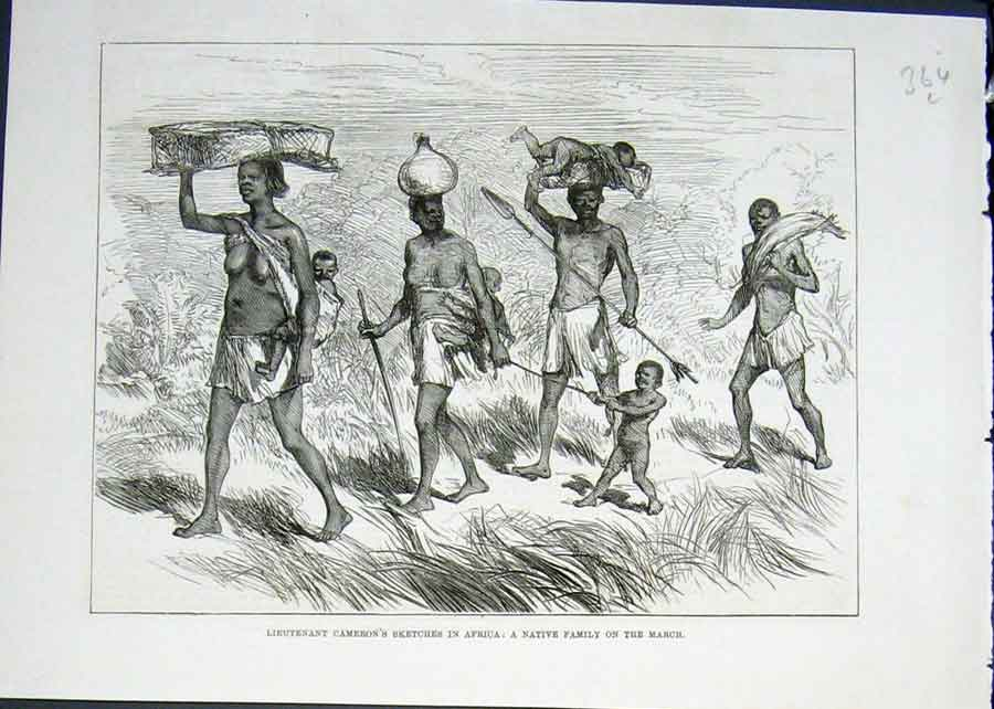 Print Lieutenant Cameron Sketch Africa Native Family 1876 64Lmaa0 Old Original