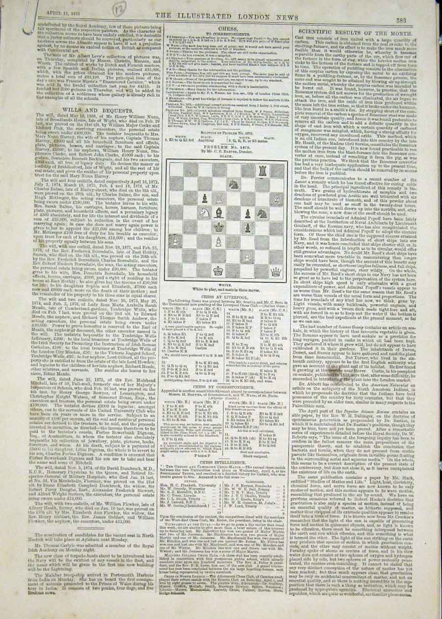 Print Chess Problems And Solutions 1876 83Maa0 Old Original