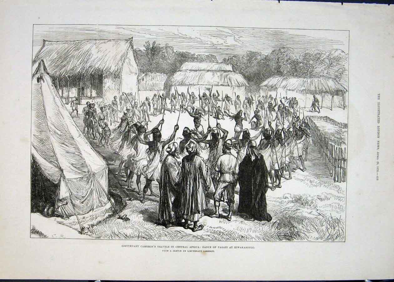 Print Lieutenant Cameron Cantral Africa Pagazi Dance 1876 13Maa0 Old Original