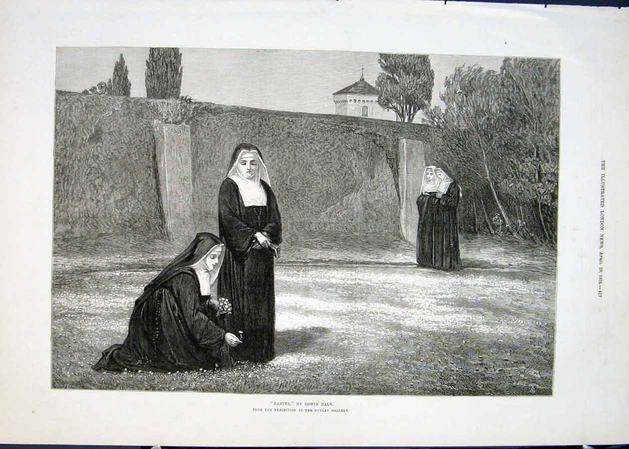 Print Easter Edwin Blair Nuns Sisters Convent Fine Art 1876 17Maa0 Old Original