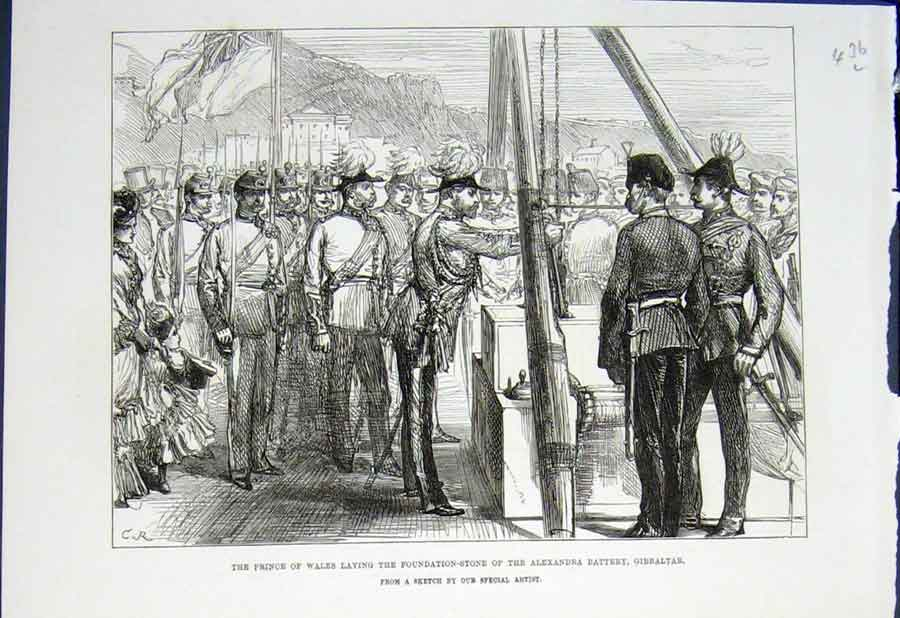 Print Prince Wales Alexandra Battery Gibraltar India 1876 36Lmaa0 Old Original