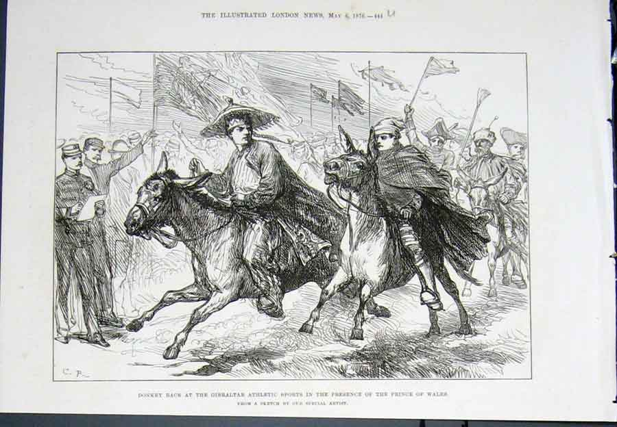 Print Donkey Race Gibraltar Athletic Sports Prince Wales 1876 44Umaa0 Old Original