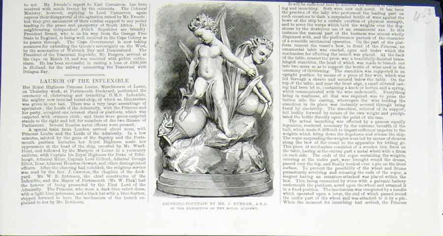 Print Drinking Fountain Durham Royal Academy 1876 52Lmaa0 Old Original