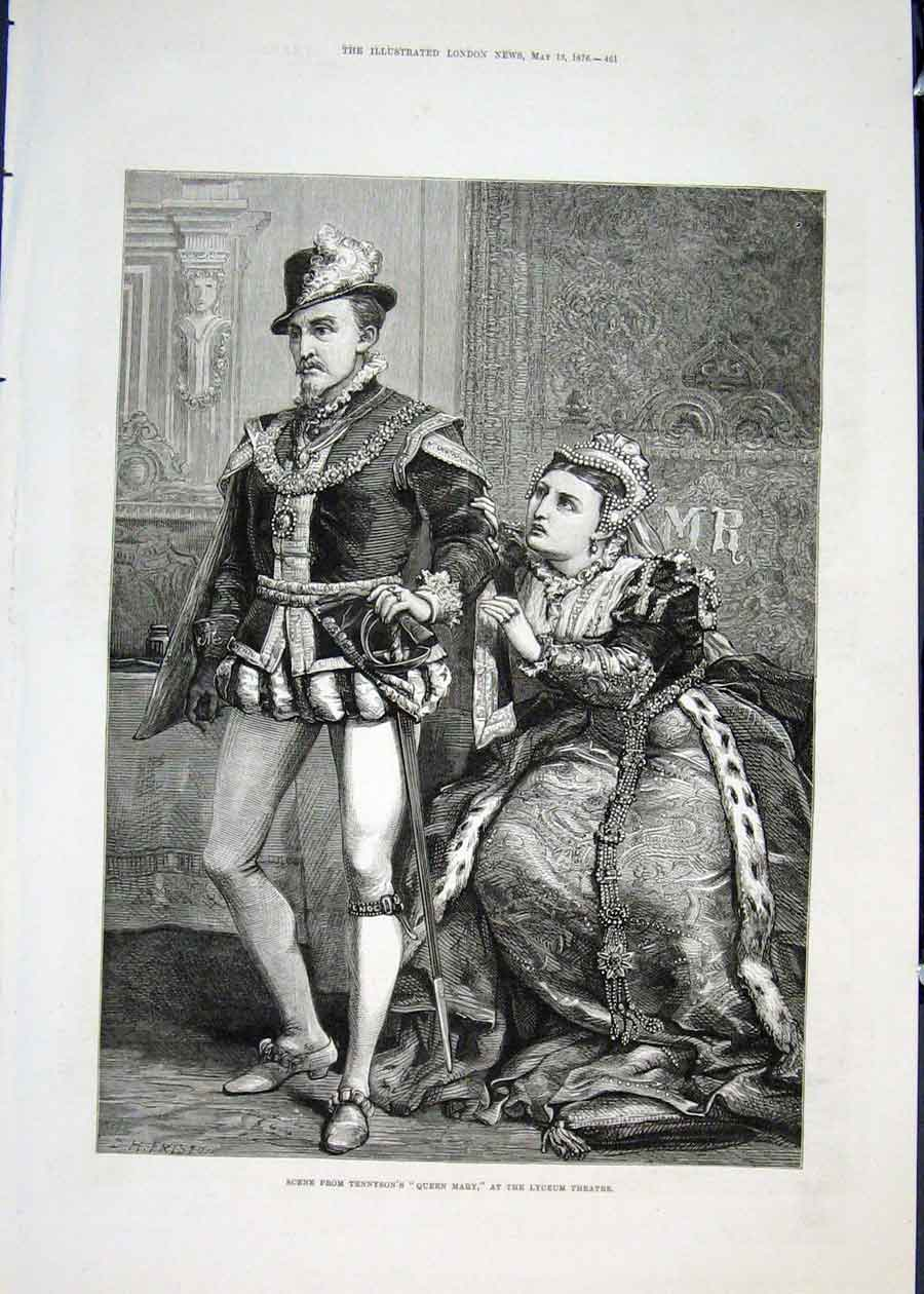 Print Tennyson Queen Mary Lyceum Theatre London 1876 61Maa0 Old Original