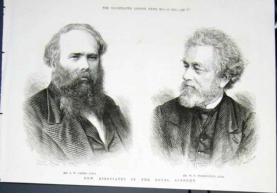 Print Portrait Oakes Woodington Royal Academy 1876 69Umaa0 Old Original