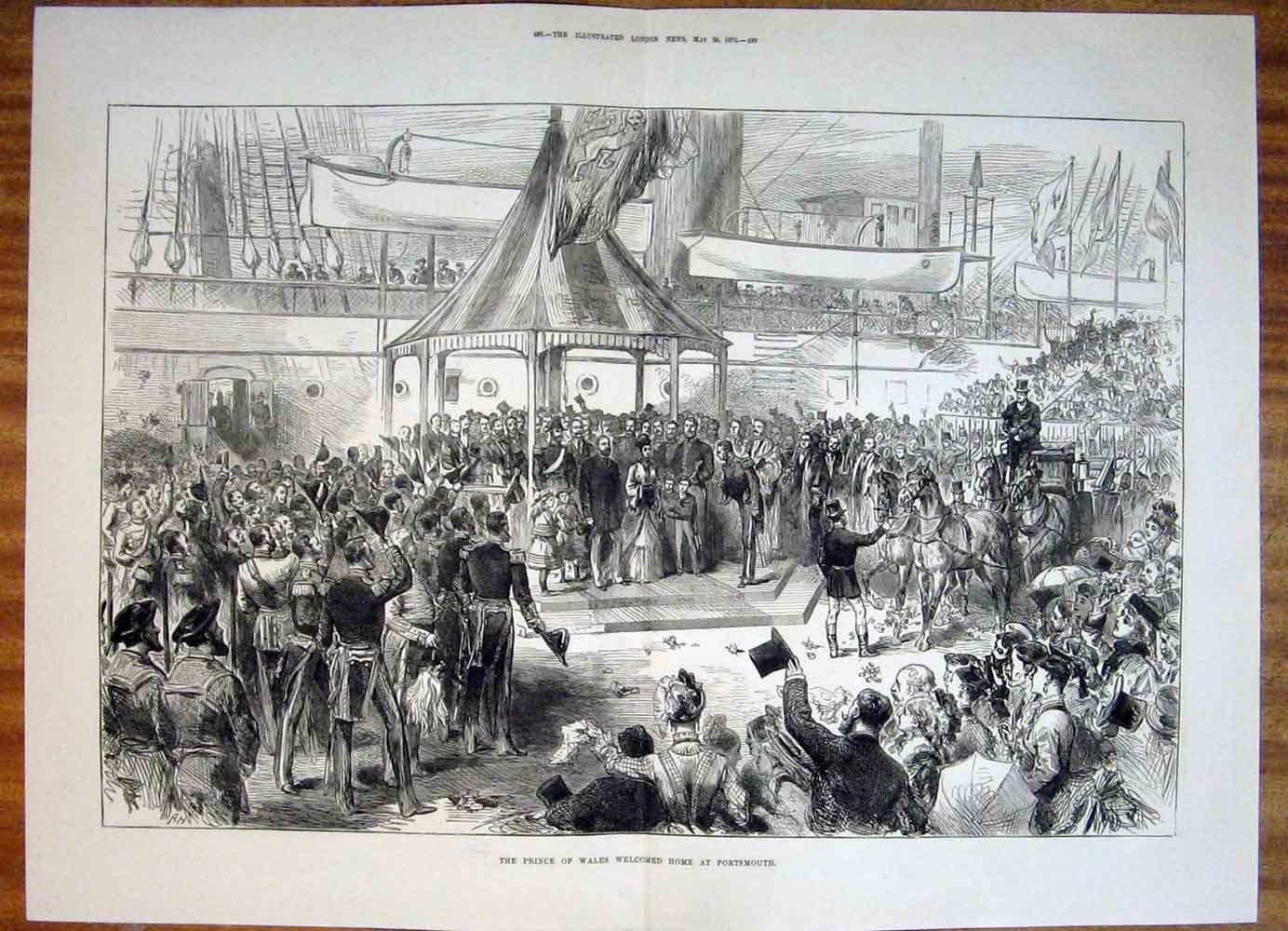 Print Prince Wales Portsmouth Welcome Home 1876 87Tmaa0 Old Original