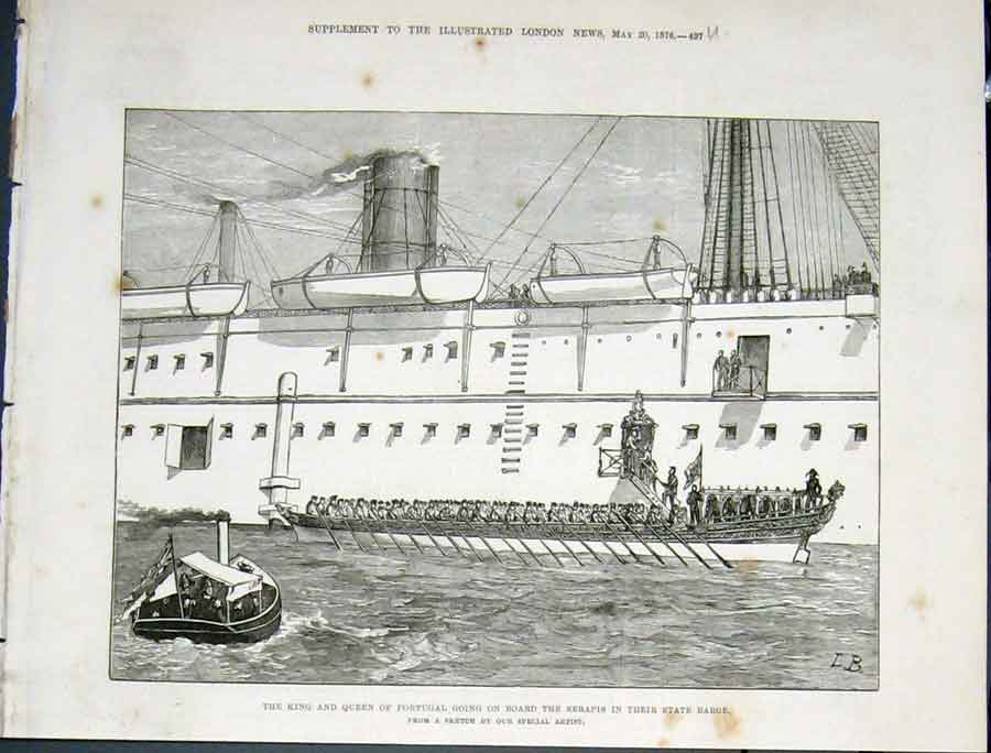 Print Portugal King Queen Serapis State Barge 1876 97Umaa0 Old Original