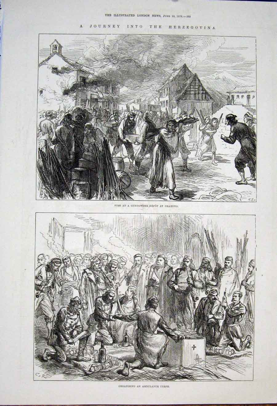 Print Herzegovina Gunpwder Depot Grahovo Ambulance Corps 1876 65Maa0 Old Original