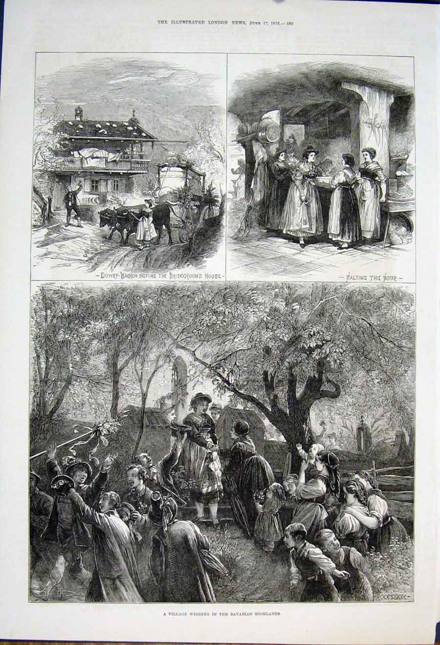 Print Village Wedding Bavarian Highlands Bavaria 1876 80Maa0 Old Original