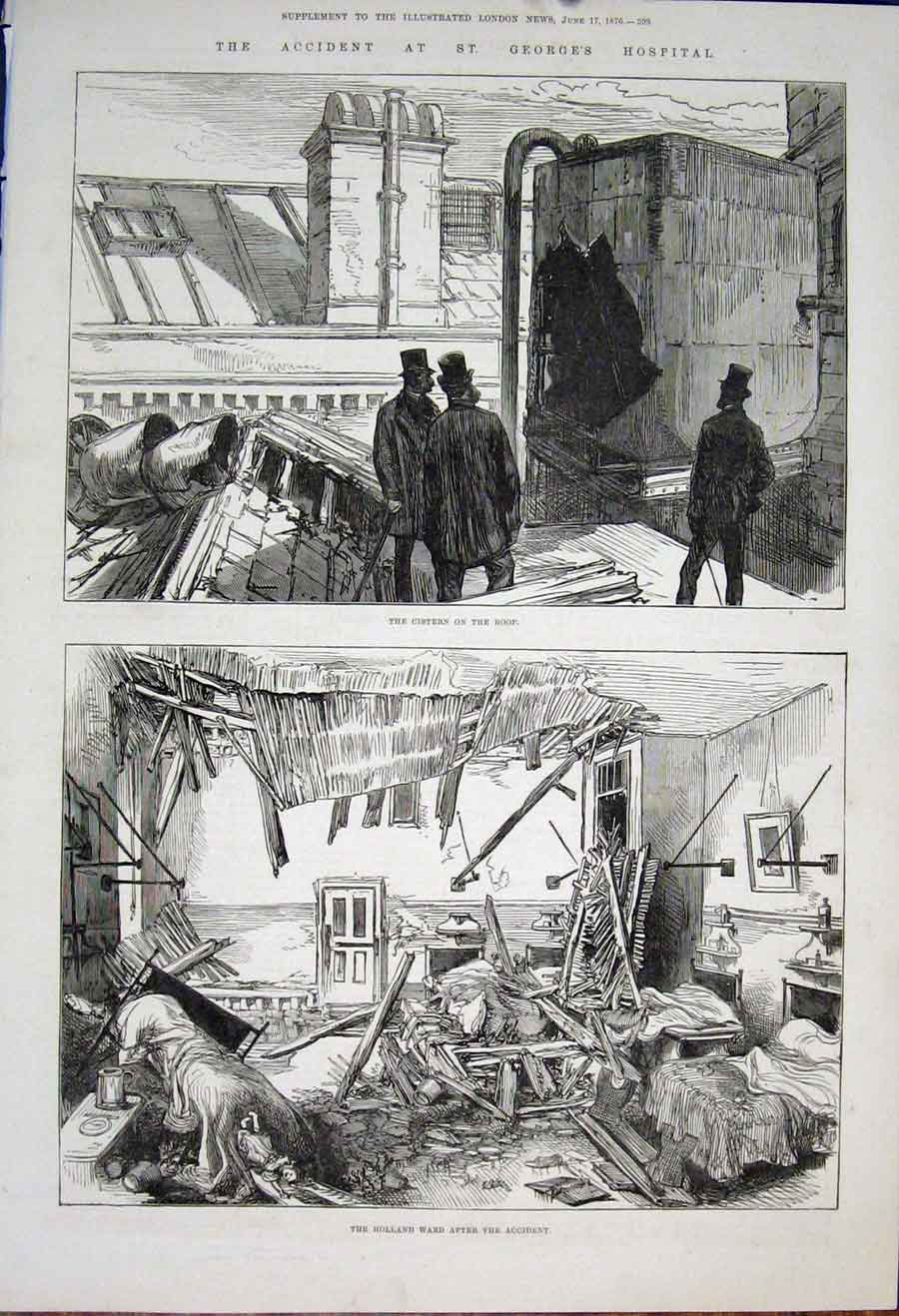 [Print Accident St George'S Hospital London Cistern Ro1876 93Maa0 Old Original]