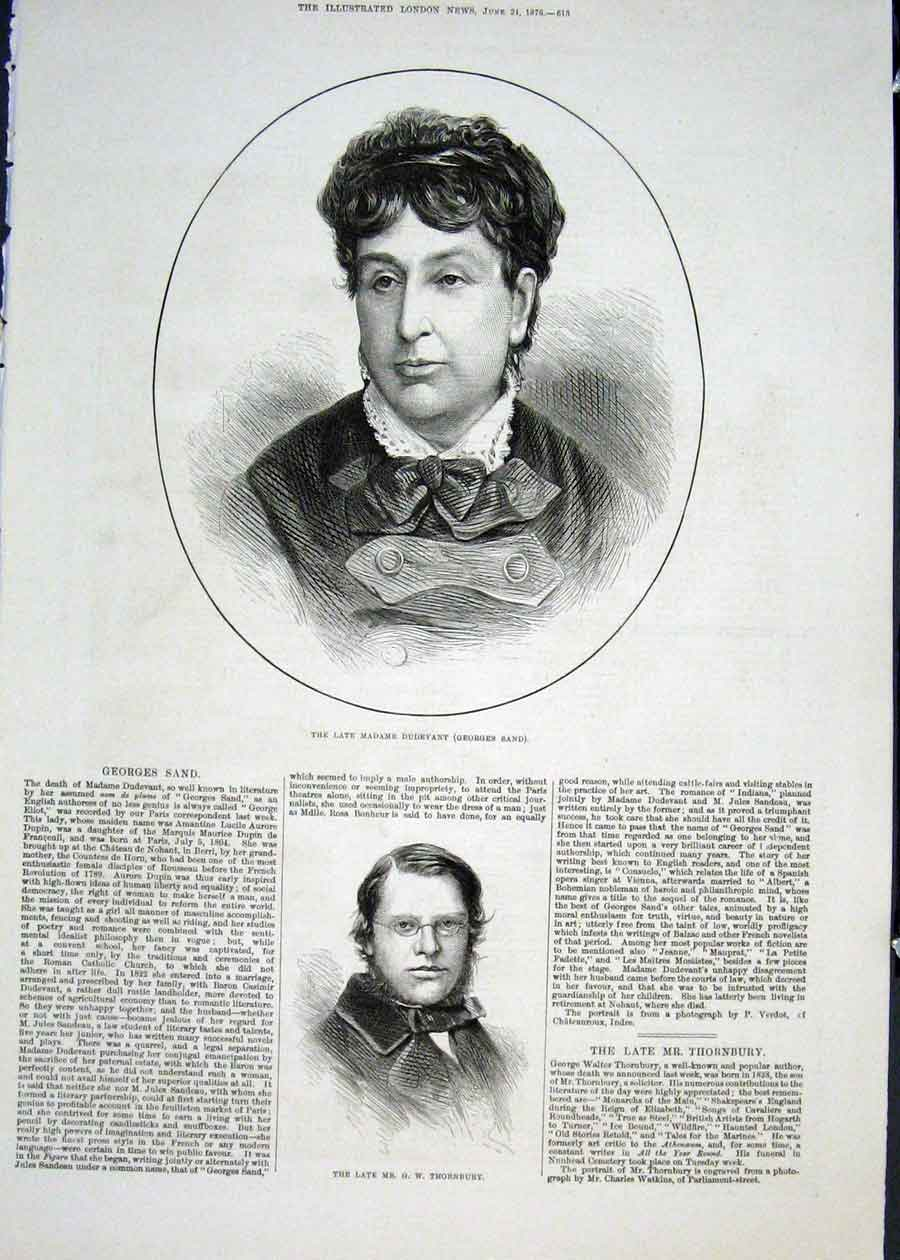 Print Portrait Dudevant Georges Sand Thornbury 1876 13Maa0 Old Original