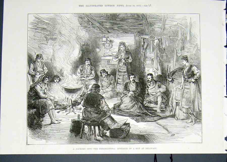 Print Herzegovina Hut Belovase Journey 1876 20Umaa0 Old Original