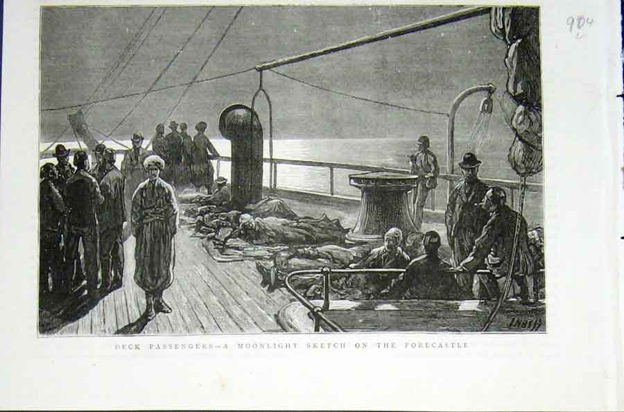 Print Deck Passemgers Moonlight Forecastle Sketch 1876 04Lmaa0 Old Original