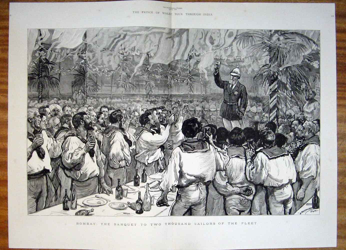 Print Bombay Banquet Fleet Sailors India 1876 51Tmaa0 Old Original