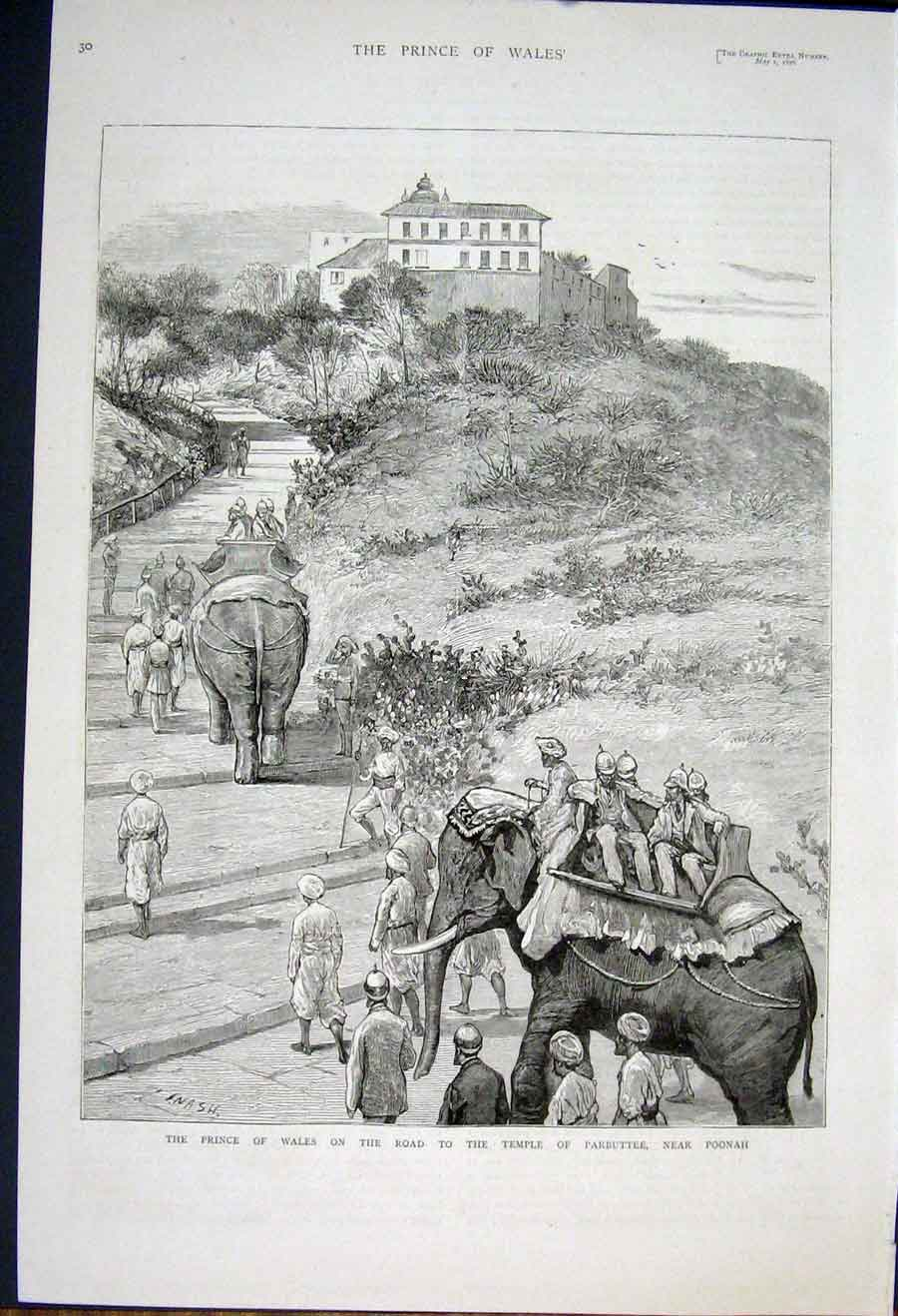 Print Prince Wales Temple Parbuttee Poonah India 1876 82Maa0 Old Original