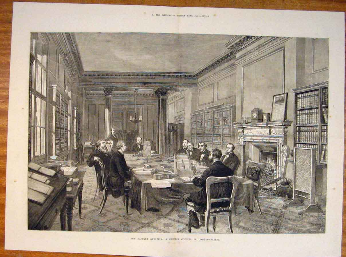 Print Cabinet Council Downing Street London Eastern 1877 07Tmaa0 Old Original