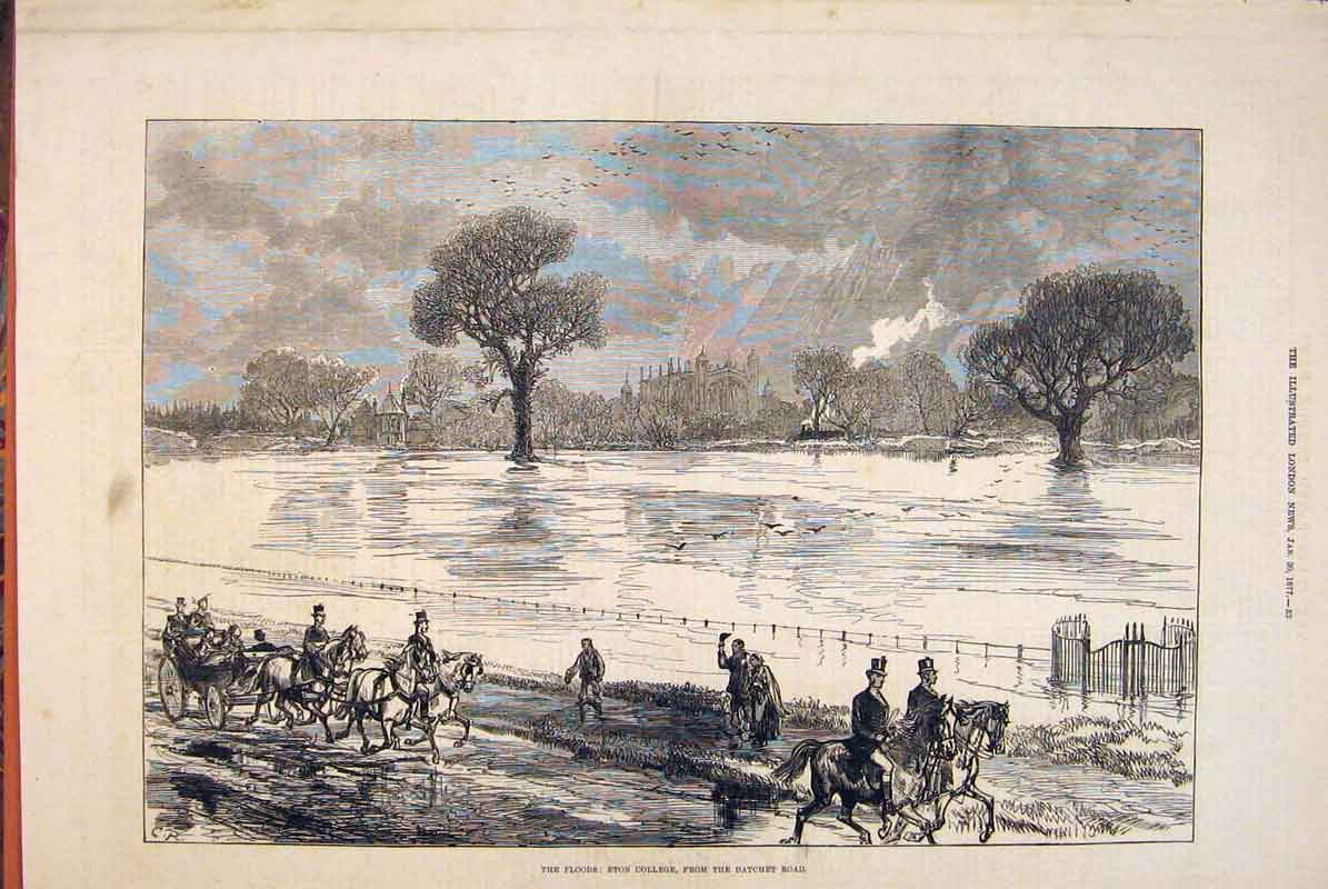 Print Floods Eton College Datchet Road 1877 53Maa0 Old Original