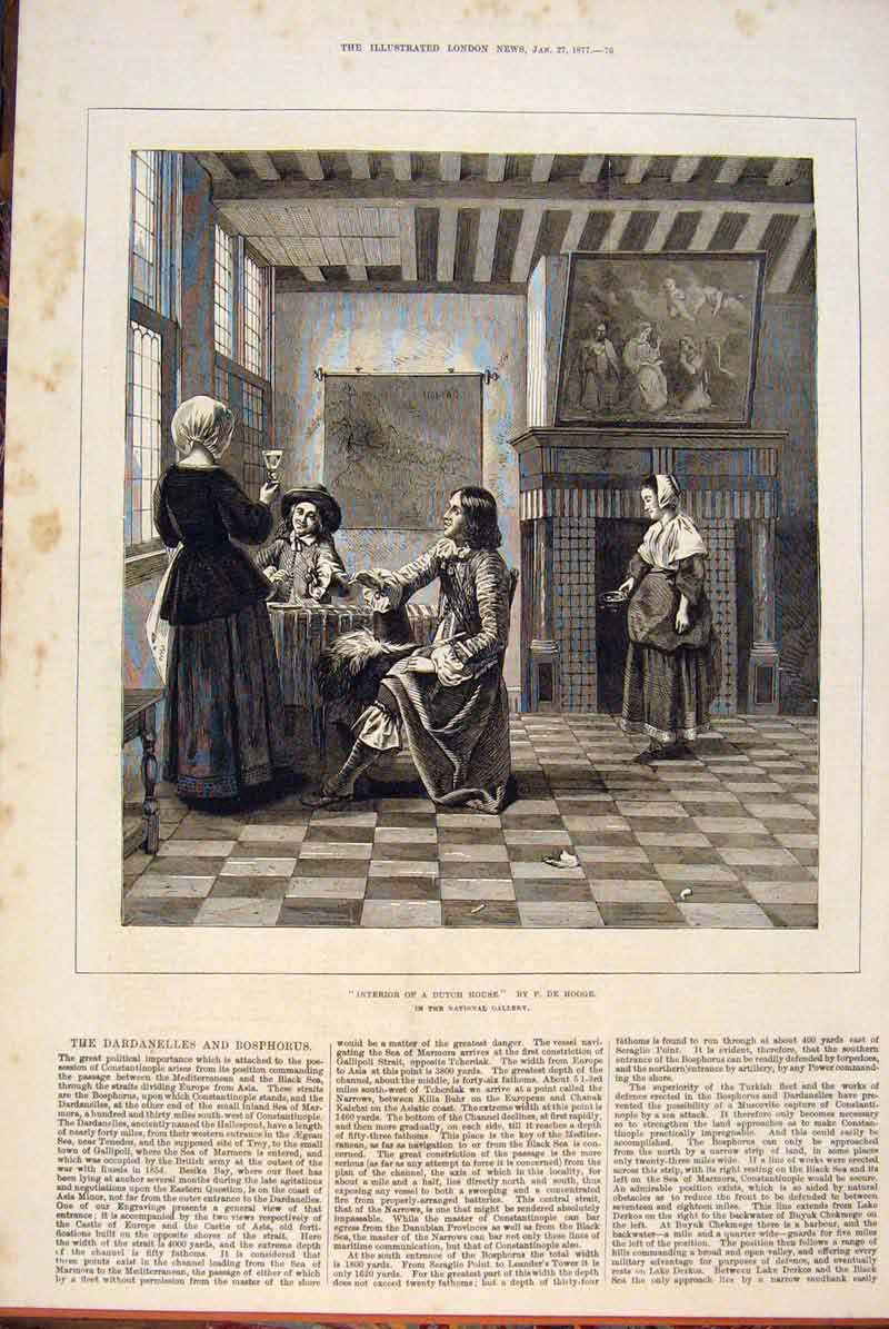 Print Dutch House Interior Building Hooge Fine Art 1877 76Maa0 Old Original
