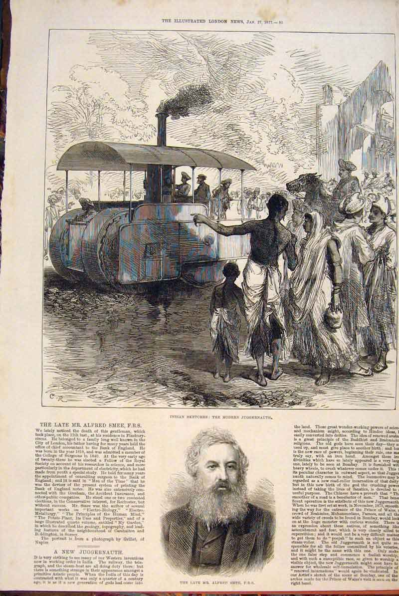 Print Indian Sketches Juggernauth Portrait Smee Surgeon 1877 85Maa0 Old Original