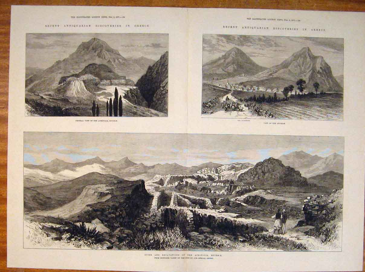 Print Ruins Excavations Acropolis Mycenae Greece Sketch 1877 03Tmaa0 Old Original