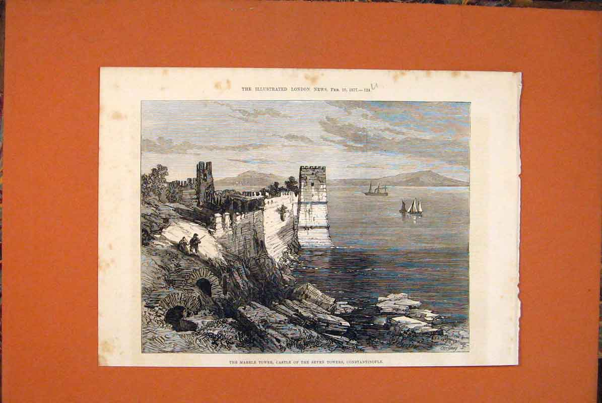 Print Marble Tower Castle Seven Towers Constantinople 1877 24Umaa0 Old Original